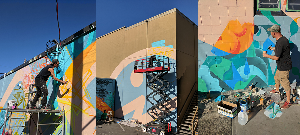 Story Line Mural in progress