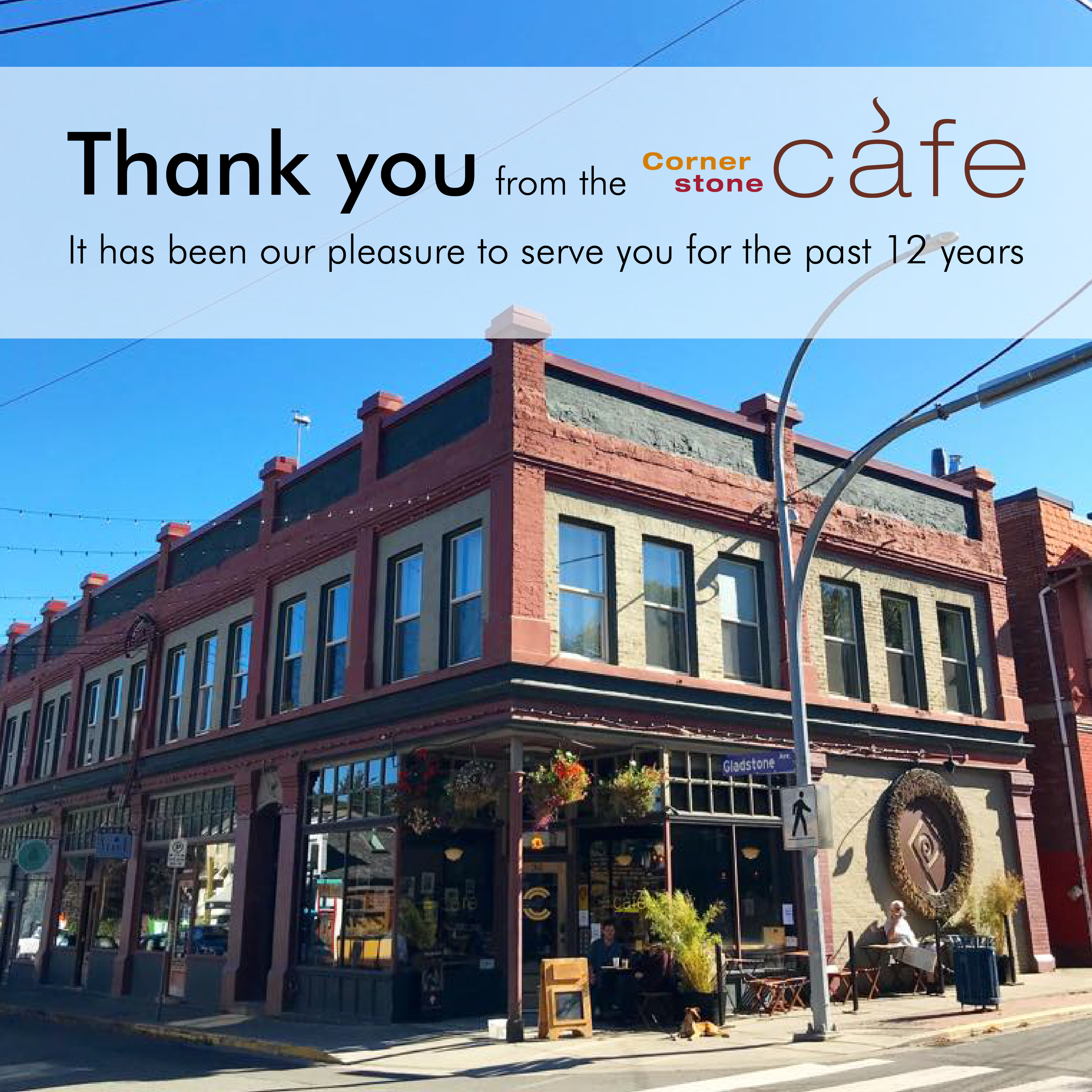 Thank you from the Cornerstone Cafe