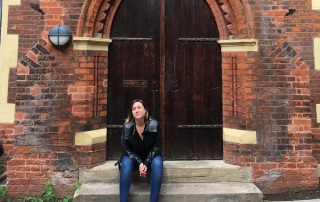 Chantille Viaud in front of Toynbee Hall