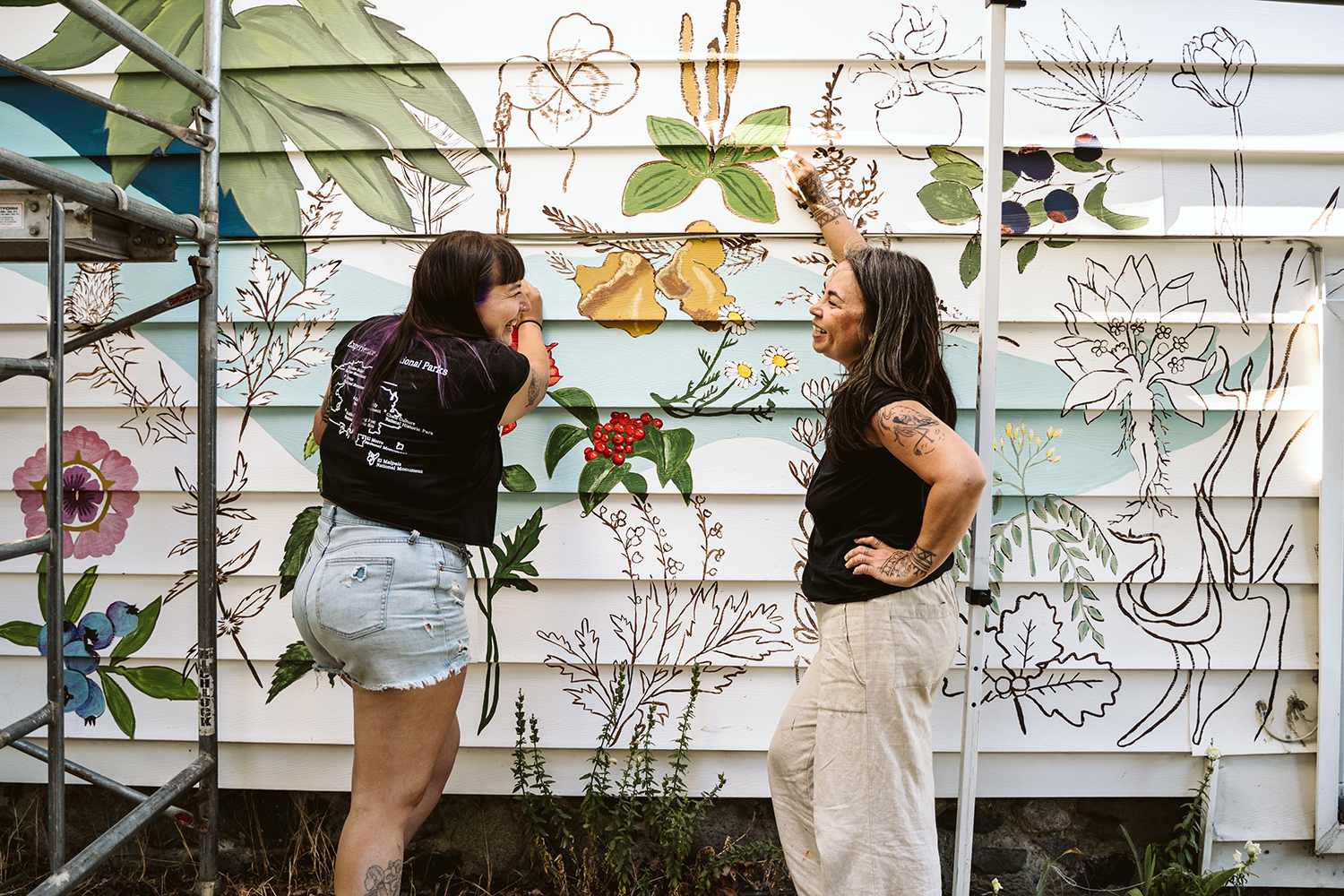 Femmes Risin' mural with Nicole and Stephanie - Fernwood Mural Fest - Aly Sibley Photography