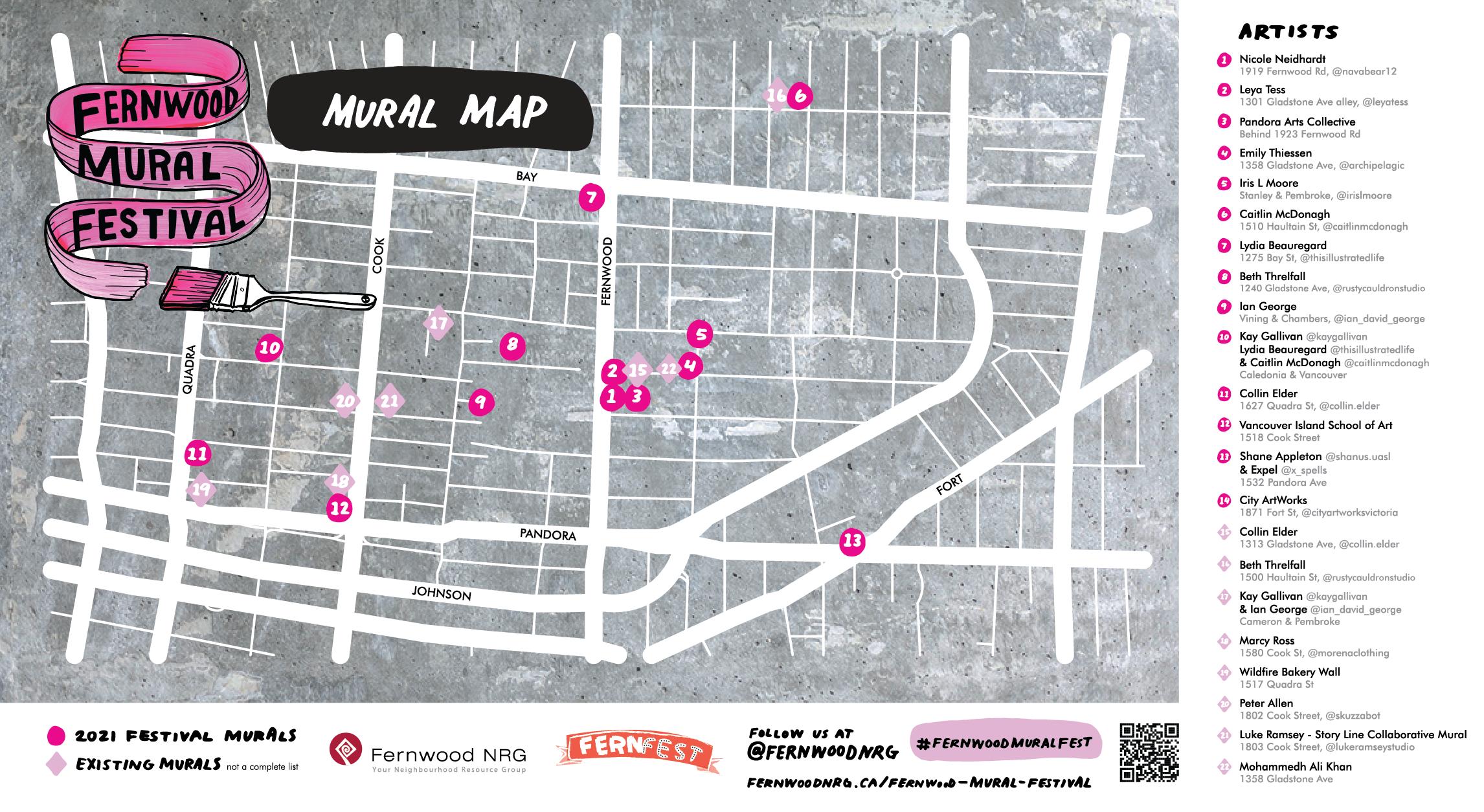 Fernwood Mural Fest Map